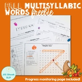 No Prep Fall Multisyllabic Words FREEBIE