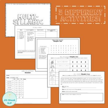 No Prep Fall Multisyllabic Words FREEBIE