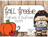 Fall FREEBIE - Prefix & Suffix Sort!