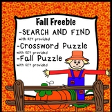 FREE Fall Search and Find Crossword puzzle Fall Autumn Puzzle worksheets