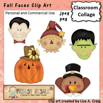 Fall Faces Clip Art Color  personal & commercial use