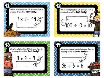 Fact Families Task Cards for Fall