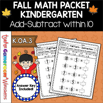 Adding and Subtracting within 10 Fall Worksheets  K.OA.5