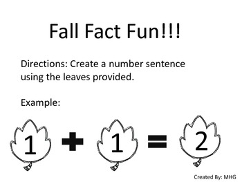 Fall Fact Fun - File Folder Game - Center Time - Math