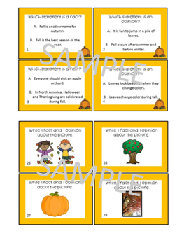 Fall Fact and Opinion Task Cards