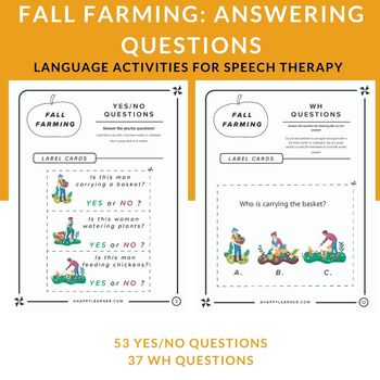 Fall Farming: Answering Yes/No & WH Questions Task Cards | Speech Therapy | ELA