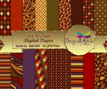 Fall Fashion digital paper, commercial use, scrapbook papers