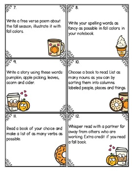 Fall Fast Finisher Task Cards-Language Arts