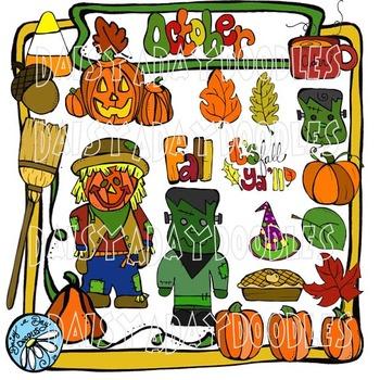 Fall Faves - Color Clip Art - Scarecrow & Pumpkins