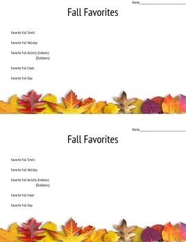 Fall Favorites Activity Sheet