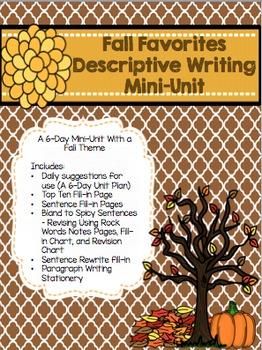 Fall Descriptive Writing Mini-Unit