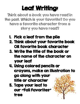 Fall Favorites Tree - Book Reflection