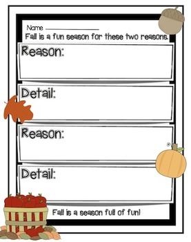 Fall Favorites Writing Activity