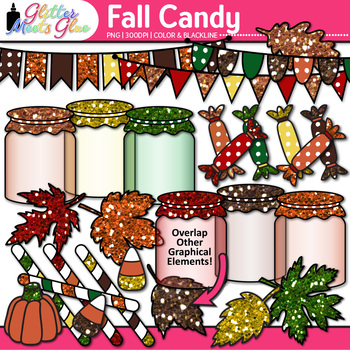 Fall Candy Clip Art {Autumn Leaves, Treats, Mason Jars, Pennants for Resources}