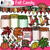 Fall Candy Clip Art | Autumn Leaves, Treats, Mason Jars, Pennants for Resources