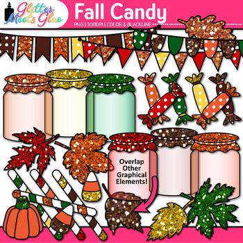 Fall Candy Clip Art {Autumn Leaves, Treats, Mason Jars, Pe