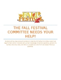 Fall Festival Committee Needs Your Help!