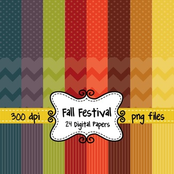 Fall Festival Digital Background Papers in Chevron, Polka Dots, and Stripes