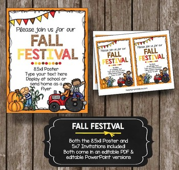 Fall Festival Invitation - EDITABLE - Harvest Celebration - School Poster