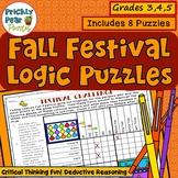 Fall Festival Puzzle Pack, Fall Logic Puzzles, Fall Festival Logic, Brain Teaser