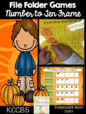 Fall File Folder Game: Number to Ten Frame Match