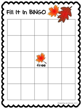 Fall Fill It In Bingo Expanded Notation and 2-Digit Addition and Subtraction
