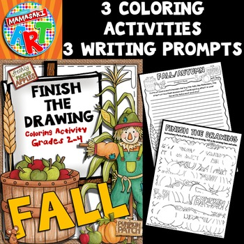 Fall Finish The Drawing Coloring Activity