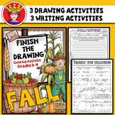 Fall Finish The Drawing Coloring and Writing Activity