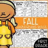Fall First Grade Math and Literacy Worksheet Pack