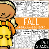 Fall Math and Literacy Worksheet Pack - First Grade