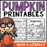 Fall First Grade Pumpkin Printables - Math and Literacy