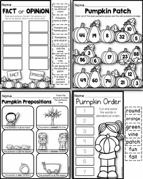 Fall First Grade Pumpkin Printables - Math and Literacy