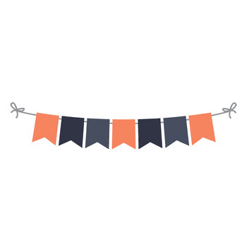Fall Flags Bunting Banner Clipart, Page Divider, Orange and Navy, Newsletter