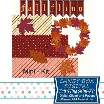 Fall Fling Clip Art, Digital Papes, Mini Kit