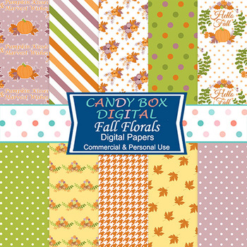 Fall Floral, Autumn Laurel Digital Papers - Commercial Use OK