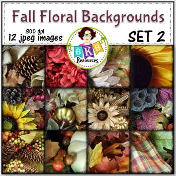 Fall Floral Photo Digital Background Papers Set 2- {Graphi