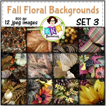 Fall Floral Photo Digital Background Papers Set 3- {Graphi