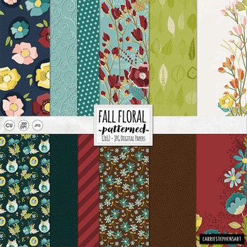 Fall Floral Digital Paper, Chic Country, Rustic Floral Patterns