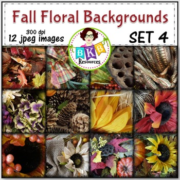 Fall Floral Photo Digital Background Papers Set 4- {Graphics for Commercial Use}