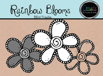 Rainwbow Blooms - Digital Clipart {B&W Freebie}