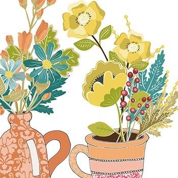 Fall Flower Vases Clip Art
