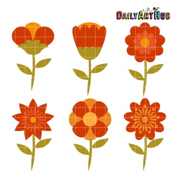 Fall Flowers Clip Art - Great for Art Class Projects!
