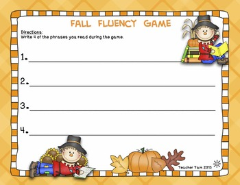 Fall Fluency Phrases Board Game