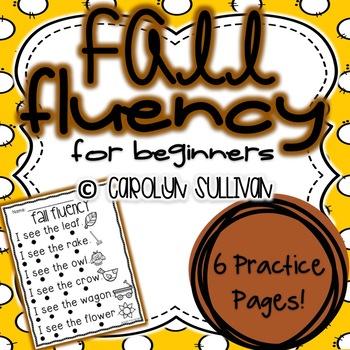 Fall Fluency Sentences for Beginning Readers