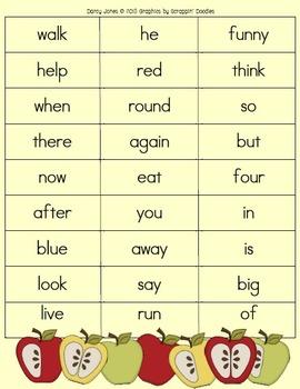 Fall Fluency Word Lists