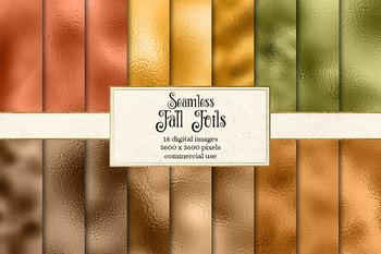 Fall Foil digital paper, seamless metallic textures