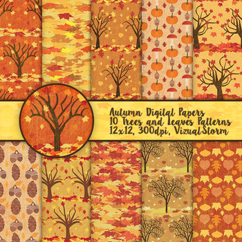 Fall Foliage Autumn Patterned Paper - Trees, Pumpkins, Acorns, Leaves