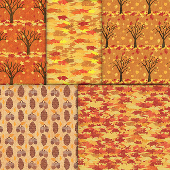 Fall Foliage Autumn Patterned Paper - Trees, Pumpkins, Acorns, Leaves