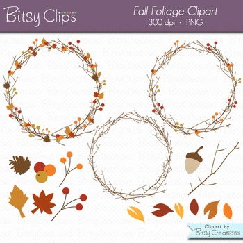 Fall Foliage Digital Art Set Clipart Commercial Use Clip Art