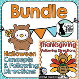 Fall Following Directions Bundle   Halloween   Thanksgiving    Boom Cards